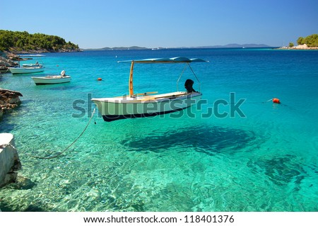 Picturesque scene of boats in a quiet bay of Milna on Brac island, Croatia