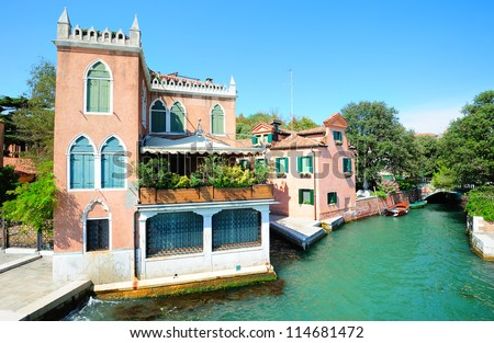 Picturesque scenery in the public gardens of Venice, Italy