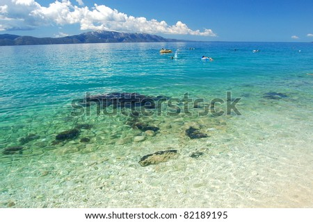 picturesque scenic view of adriatic beach in brist, dalmatia - croatia