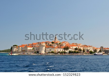 Picturesque scenic view of the old town with port of Korcula, Croatia
