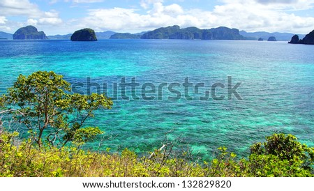Picturesque sea landscape with islands. El Nido, Philippines