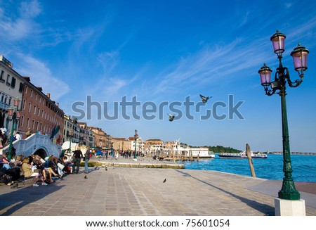 picturesque seafront with flying doves and the street lamp in Venice, Italy in summer sunny day