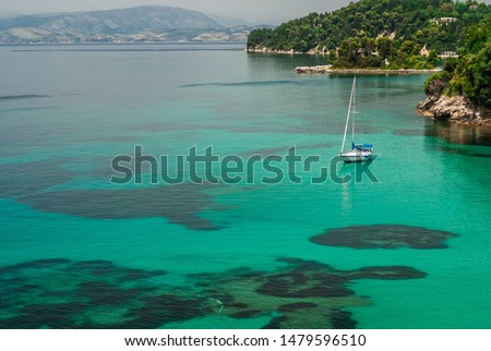 Picturesque seascapes. Travel to Corfu island, Greece.