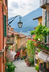 Picturesque small town street view in Bellagio, Lake Como Italy
