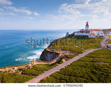 Picturesque spring Cabo da Roca landscape with lighthouse, Sintra-Cascais Natural Park, Portugal Foto stock ©