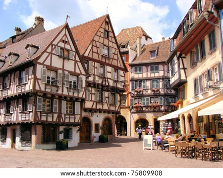 Picturesque square in the Alsatian city of Colmar, France - stock photo