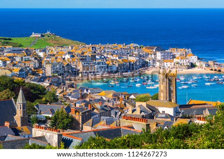 Picturesque St Ives, a popular seaside town and port in Cornwall, England