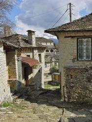 Picturesque street  in a mountainous Greek village