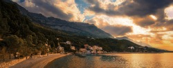 picturesque summer seascape in Croatia, famous Brela resort - fantastic place for rest in Europe, amazing summer nature scenery