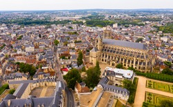 Picturesque summer view from drone of French town of Bourges with Saint-Etienne de Bourges Cathedral, Cher department..