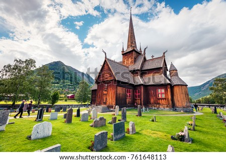 Picturesque summer view of Lom stave church (Lom Stavkyrkje). Sunny morning scene of Norwegian countryside, administrative centre of Lom municipality - Fossbergom, Norway, Europe. Stock fotó ©