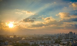 Picturesque sunset in megalopolis Bangkok, Thailand, Asia