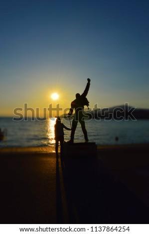 Picturesque sunset near Freddie Mercury Statue. Montreux, Switzerland