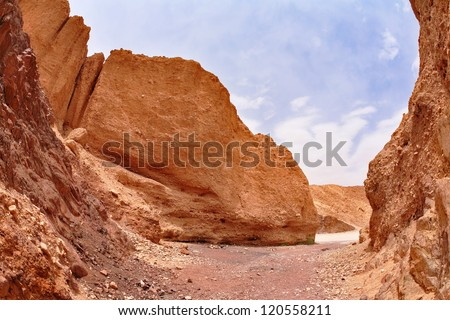 Picturesque tourist route in stone desert at Red sea. Israel