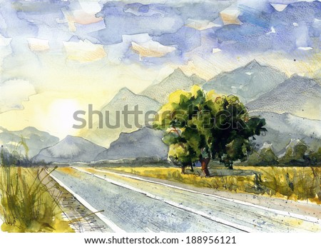Picturesque trees in sunset on the road watercolor painting poster card background