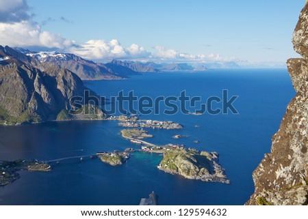 Picturesque view from Reinebringen on Lofoten islands in Norway