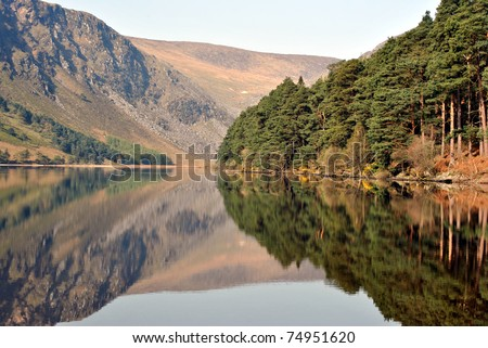 picturesque view of a lake in glendalough county wicklow ireland - stock photo