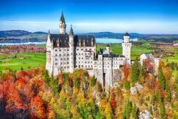 Picturesque view of famous Neuschwanstein Castle in autumn. Location: village of Hohenschwangau, near Füssen, southwest Bavaria, Germany, Europe