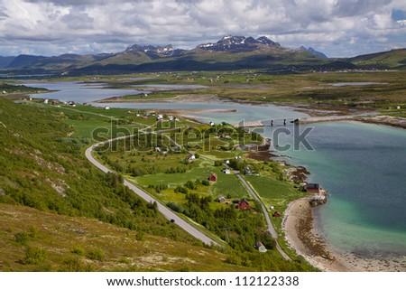 Picturesque view of island of Vestvagoy on Lofoten islands in Norway