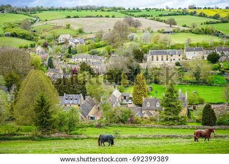 Picturesque View of Naunton Village, Cotswold