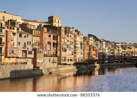 Picturesque view of the Onyar river, Girona.