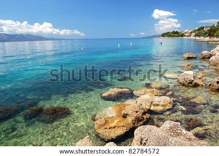Picturesque view on dalmatian rocky beach in Brist, Croatia