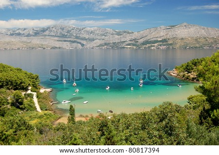 Picturesque view on sandy Lovrecina beach on Brac island, Croatia