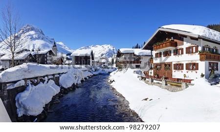 Picturesque winter landscape with river. Lech, Austria