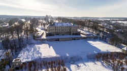 Pidhirtsi castle. Aerial view of the castle from the height of bird flight