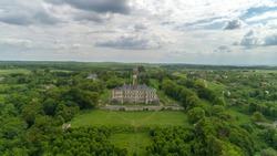 Pidhirtsi castle. View of the castle from the height of bird flight