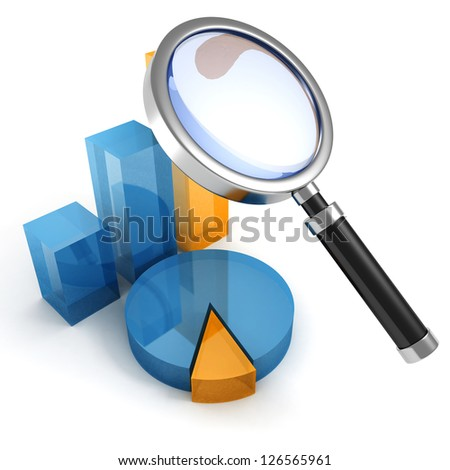 pie and bar chart diagrams and magnifier glass