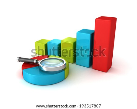 pie and bar chart diagrams and magnifier glass. 3d render illustration