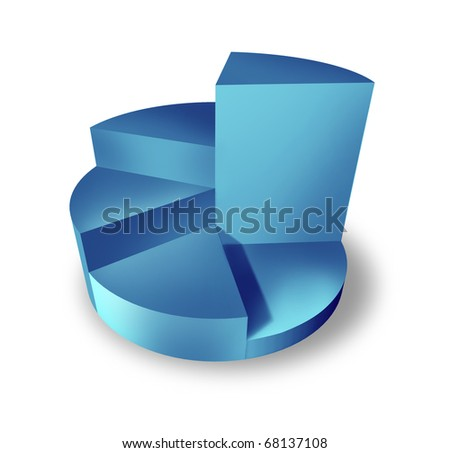 pie chart blue 3d isolated business icon symbol of sales performance