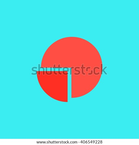 Pie Chart Flat Icon On Color Background Simple Colorful Pictogram