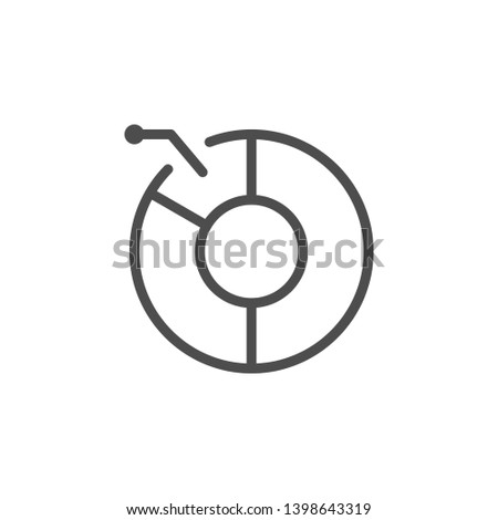 Pie chart line icon isolated on white