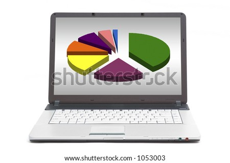 pie chart on the screen of notebook
