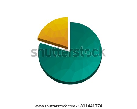 Pie chart: one fifth, two tenths, four fifths, eight tenths. 20 %, 80 %. Blue and green on white background Stock photo ©
