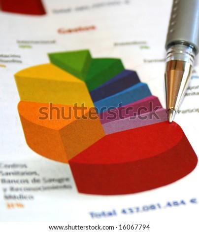 Pie chart report - stock photo