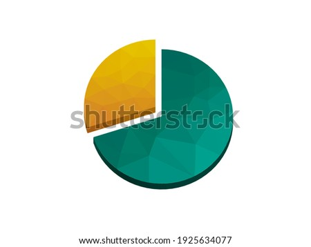 Pie chart three tenths or seven tenths. Also, 30%. Low poly effect, green and yellow. White background Stock photo ©