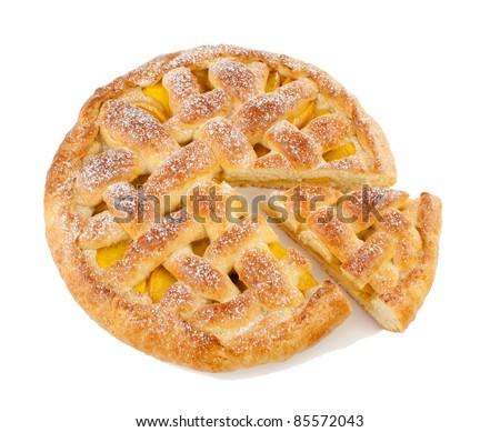 Pie  homemade with fruit  Isolated on a white background