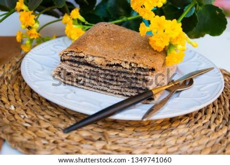Pie with poppy. Traditional tajil katlama pie. Stok fotoğraf ©