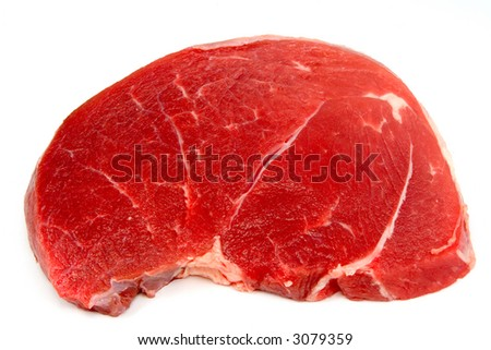 Piece of a beef, on white