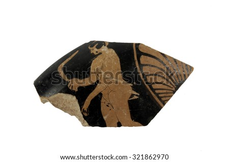 piece of a Greek vase painting with human, original