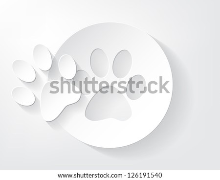 Piece of animal trace cut out from a piece of paper with a nice shadow.
