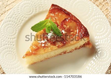 Piece of apple sponge cake