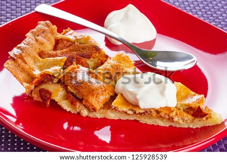 Piece of apple tart and cream on the plate - stock photo
