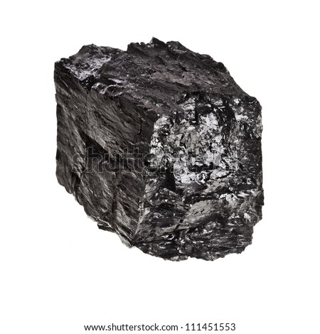 piece of black coal isolated on white background