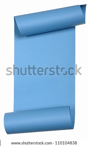 piece of blue paper rolled up in a roll isolated on white background