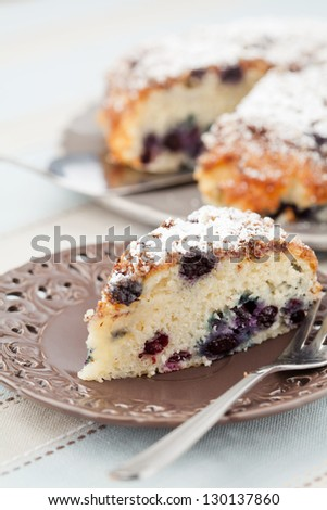 Piece of blueberry cake on serving plate