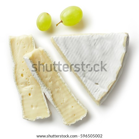 Piece of brie cheese isolated on white background. From top view Сток-фото ©
